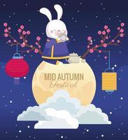 cartão de celebração do meio do outono com coelho em cena de lua cheia vetor