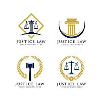 modelo de design de logotipo de lei de justiça vetor