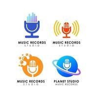 design de logotipo de estúdio de gravação de música vetor