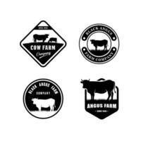 modelo de design de logotipo de fazenda de vacas vetor