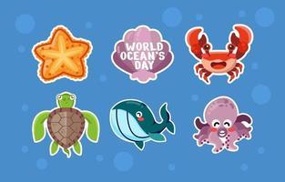 adesivos do dia mundial dos oceanos vetor