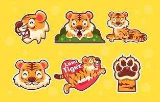 tigre fofo humilde vetor