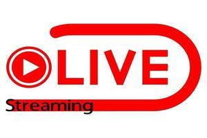 ícone de transmissão ao vivo plano vermelho vetor