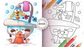 livro para colorir cachorro no banheiro vetor