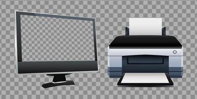 máquina de hardware de impressora e dispositivos de computador de monitor vetor