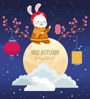cartão do meio do outono com coelho em lua cheia vetor