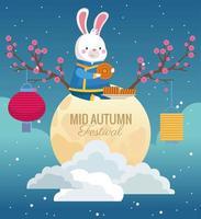 cartão de celebração do meio do outono com coelho em lua cheia vetor