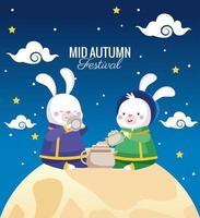 cartão de celebração do meio do outono com casal de coelhos em cena de lua cheia vetor