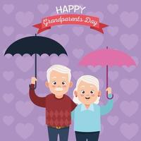 Casal de avós fofos e felizes com personagens avatares de guarda-chuvas vetor