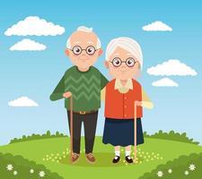 casal de avós fofos e felizes no acampamento vetor