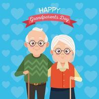 Casal de avós fofos e felizes com personagens de quadro roboon vetor