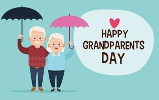 Casal de avós fofos e felizes com guarda-chuvas e letras vetor