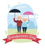 Casal de avós felizes fofos com guarda-chuvas e moldura de fita vetor