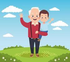 velho avô feliz com neto no acampamento vetor