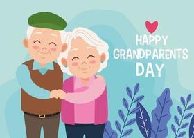 Um casal de avós felizes fofos e letras com o coração vetor