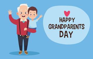 velho avô feliz com neto e letras vetor
