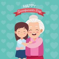 avó feliz fofa com a neta e letras vetor
