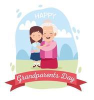 avó feliz e fofa com a neta no acampamento vetor