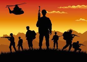 soldados militares com armas e silhuetas de helicóptero cena do pôr do sol vetor