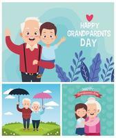 avós fofos e felizes com crianças pequenas no acampamento vetor