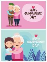 avós fofos e felizes com personagens infantis vetor