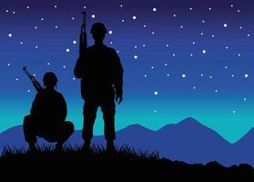 Soldados militares com silhuetas de armas figuras em cena noturna vetor
