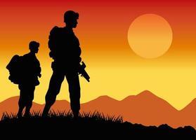 silhuetas de soldados militares figuras na cena do pôr do sol no acampamento vetor