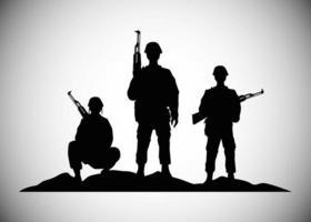soldados militares com armas, silhuetas, figuras, ícones vetor