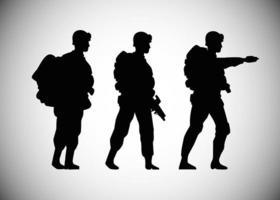 Ícones de silhuetas de soldados militares vetor