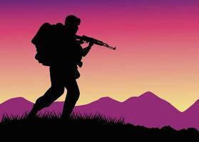 Soldado militar com silhueta de arma no campo vetor