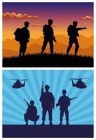 soldados militares com armas e silhuetas de helicópteros vetor