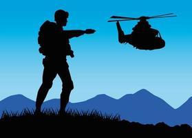 Figura silhueta do soldado militar com helicóptero vetor