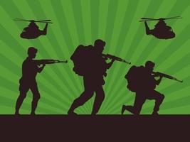 soldados militares com silhuetas de armas e helicópteros em fundo verde vetor