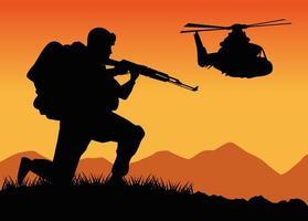 soldado militar com arma e silhueta de helicóptero no acampamento vetor