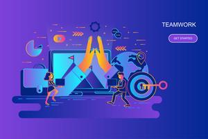 Linha plana gradiente moderno web conceito bandeira de trabalho em equipe e negócios com caráter de pessoas pequenas decorados. Modelo de página de destino. vetor