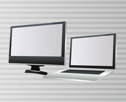 laptops e computadores desktop dispositivos digitais portáteis vetor