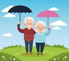 casal de avós fofos e felizes com guarda-chuvas no acampamento vetor