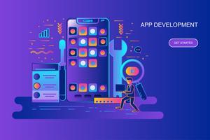 Moderna linha plana gradiente conceito web banner de desenvolvimento de aplicativos com caráter de pessoas pequenas decorados. Modelo de página de destino.
