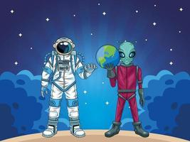 astronauta e personagens alienígenas no espaço vetor