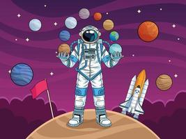 astronauta com foguete e planetas no espaço vetor