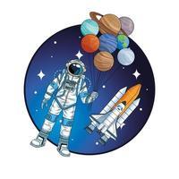 astronauta com foguete e planetas no personagem espacial vetor