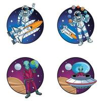 grupo de astronautas e alienígenas no espaço personagens vetor