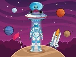 astronauta com OVNIs e planetas no espaço vetor