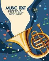 pôster do festival de música com trompetes vetor