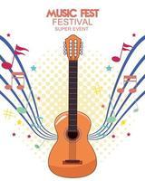 pôster do festival de música com violão vetor