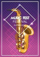pôster do festival de música com saxofone vetor