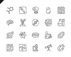 Ícones da linha Science Set simples para o site e aplicativos móveis.