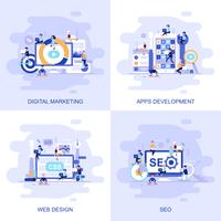 Bandeira de web plana moderna conceito de Seo, Web Design, desenvolvimento de aplicativos e Marketing Digital com caráter de pessoas pequenas decorados.