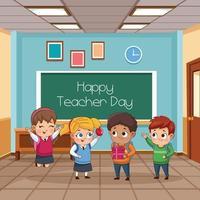 grupo de pequenos alunos, crianças na sala de aula vetor
