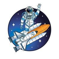 astronauta com foguete no personagem espacial vetor